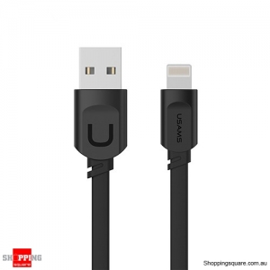 0.2M USAMS 2.1A Fast Charging Flat Usb Data Charger Cable For iPhoneXS MAX XR X 8 7 6 6s - Black Colour