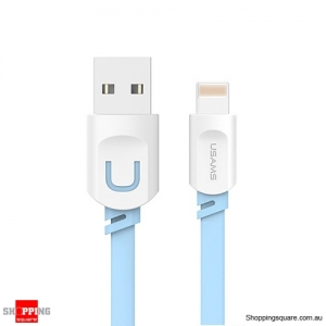 0.2M USAMS 2.1A Fast Charging Flat Usb Data Charger Cable For iPhoneXS MAX XR X 8 7 6 6s - Blue Colour