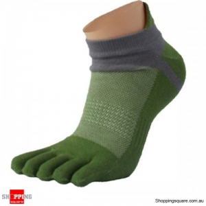 Sports Running Five Toes room Cotton Socks Tight Breathable Healthy Finger Socks - Green
