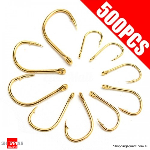 500Pcs 10-Size Perforated Hooks Box Fishing Sharpened Hook Lure Tackle Bait with case - Gold