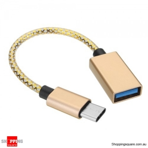 16cm Type-C To USB3.0 OTG Adapter Photo Picture Data Cable For Mobile Phone Tablet Camera - Gold