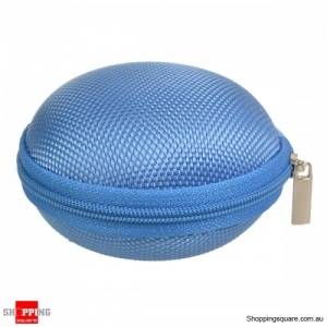 Carrying Storage Bag Organizer Case zippable For Earphone Cable - Blue