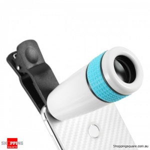 Universal 8X-12X Zoom Telescope Clip-on high clarity Camera Lens for Smartphone Tablets - White