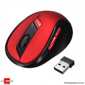 2400DPI 6-Buttons ABS 2.4GHz USB Wireless Optical Gaming Mouse - Red