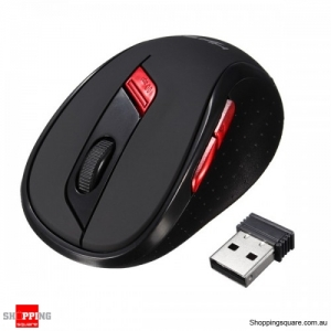 2400DPI 6-Buttons ABS 2.4GHz USB Wireless Optical Gaming Mouse - Black