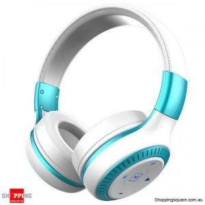 3D Sound 40mm dynamic driver AUX Line-in Wireless Bluetooth Headphone Headset With Mic - White & Blue