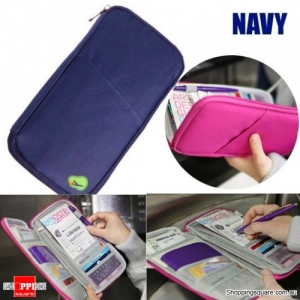 Portable Multi-functional Travels Passport Holder Card Ticket Wallet Storage Bag - Navy