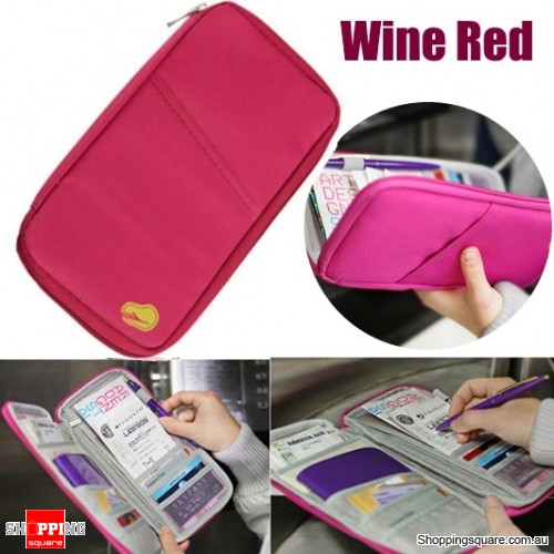 Portable Multi-functional Travels Passport Holder Card Ticket Wallet Storage Bag - Wine Red