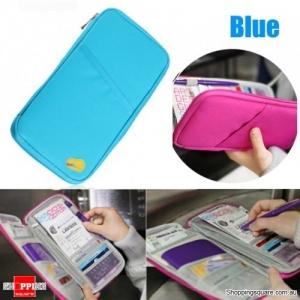 Portable Multi-functional Travels Passport Holder Card Ticket Wallet Storage Bag - Blue
