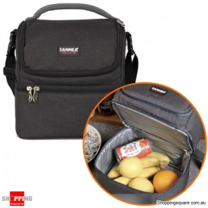 7L Portable Double-Layer Thermal Oxford  Insulated picnic Lunch bag for Comping Hiking - Black