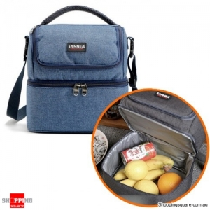 7L Portable Double-Layer Thermal Oxford  Insulated picnic Lunch bag for Comping Hiking - Blue