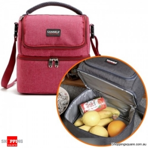 7L Portable Double-Layer Thermal Oxford  Insulated picnic Lunch bag for Comping Hiking - Red Wine