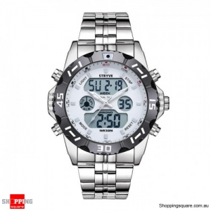 Waterproof Chronograph Alarm Calendar Dual Display Digital Watch - White