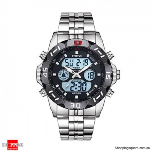 Waterproof Chronograph Alarm Calendar Dual Display Digital Watch - Black