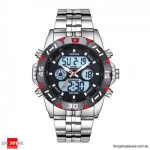 Waterproof Chronograph Alarm Calendar Dual Display Digital Watch - Red