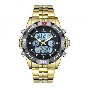 Waterproof Chronograph Alarm Calendar Dual Display Digital Watch - Gold