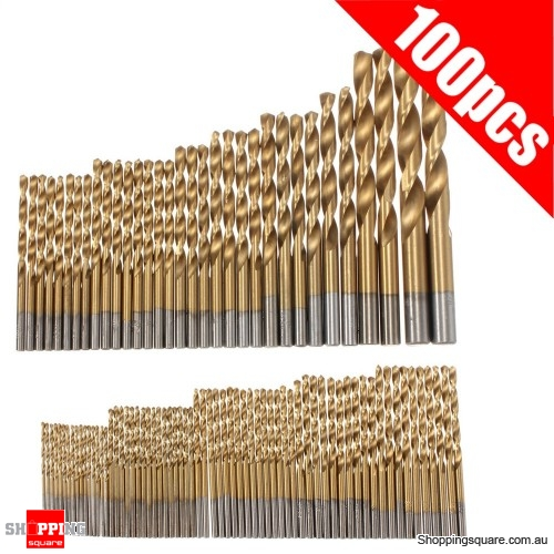 100pcs 1.5-10mm Assorted Titanium Coated Drill Bit Set Manual Twist Drill Bits woodwork DIY
