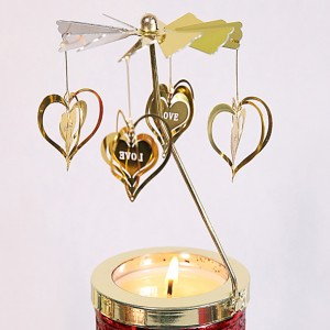 Golden Spinning Votive Lantern aromatherapy candle holder Carousel -05