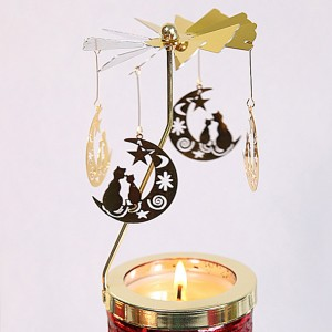 Golden Spinning Votive Lantern aromatherapy candle holder Carousel -03