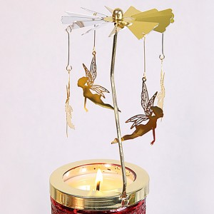 Golden Spinning Votive Lantern aromatherapy candle holder Carousel -04