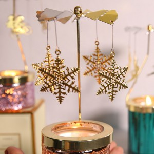 Golden Spinning Votive Lantern aromatherapy candle holder Carousel -07