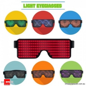 Rechargeable 164 LED eye Glasses 8 Different Display for Party Holiday - Red