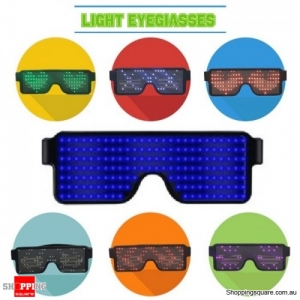Rechargeable 164 LED eye Glasses 8 Different Display for Party Holiday - Blue
