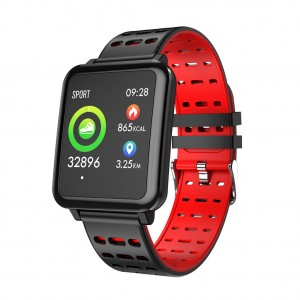 T2 Color Screen Oxygen Call Messages HR Remind Smart Watch - Red
