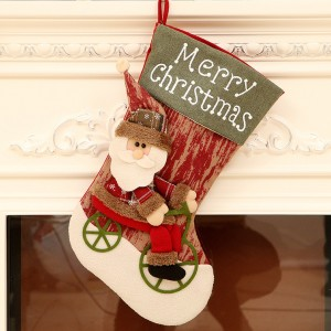 44cm Biking Santa Claus Christmas Stockings Decorations 3D - 01