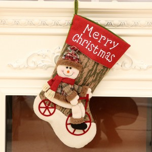 44cm Biking Santa Claus Christmas Stockings Decorations 3D - 02