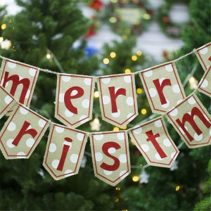 Burlap Merry Christmas Letter Print Banner Decor string flag