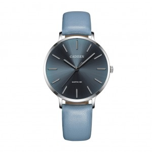 Fashion Women Simple quartz watch PU Leather Pin buckle Mineral Glass - Blue