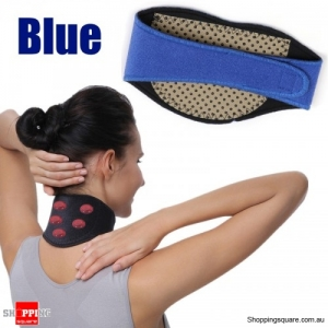 Magnetic Neck Support Tourmaline Magneto therapy Sheath Brace Protect Band Massager Belt Health Care - Blue