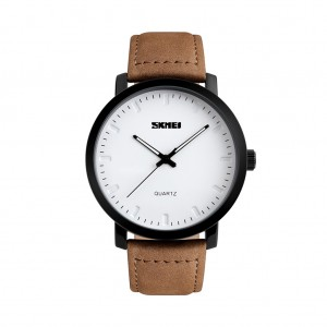 SKMEI 1196 Leather Band Analog Quartz Wrist Watch for Men Business Casual