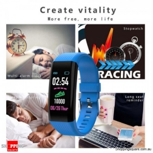 "B06 Waterproof 0.96"" IPS Color Touch Screen Smart Bracelet Pedometer Health Monitor Fitness - Blue"