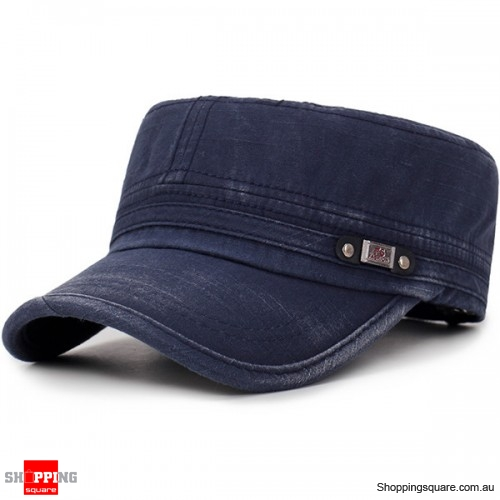 Mens Washed Cotton Flat Top Adjustable Hat Sunscreen Military Army Peaked Cap Outdoor - Navy
