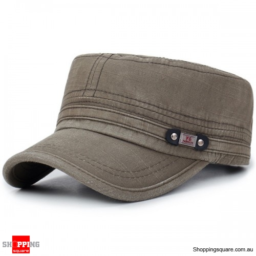 Mens Washed Cotton Flat Top Adjustable Hat Sunscreen Military Army Peaked Cap Outdoor -Army  Green