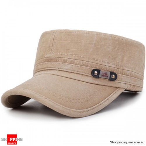 Mens Washed Cotton Flat Top Adjustable Hat Sunscreen Military Army Peaked Cap Outdoor - Khaki