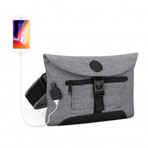 USB men's chest bag men's multi-functional sports canvas outdoor small shoulder bag-Gray