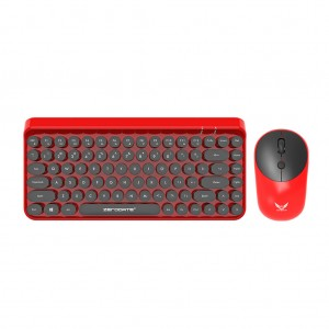 Vintage Ergonomic 2.4GHz Wireless Keyboard with Mouse Set - Red