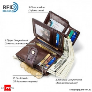 Anti-Lost Leather RFID Blocking Smart USB Bluetooth rechargeable Remote Wallet