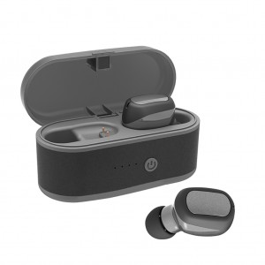 T6 Bluetooth 5.0 TWS Earbuds Waterproof IPX5 Sports In-Ear Earphone with Charging Box - Gray Black