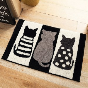 Cute Pattern Water Absorption Bathroom Mat Non-slip Home Decor Soft Doormat - Cat
