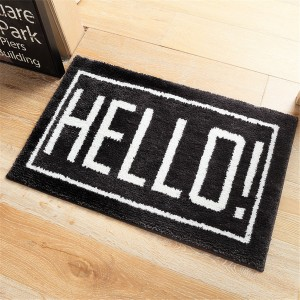 Cute Pattern Water Absorption Bathroom Mat Non-slip Home Decor Soft Doormat - Hello
