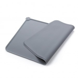 Waterproof Foldable Silicone pet food mat - Gray