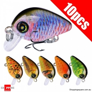 10Pcs 3D eyes 28.5mm Minnow Hard Fishing Lure Hook Crank Bait Mixed Color #2