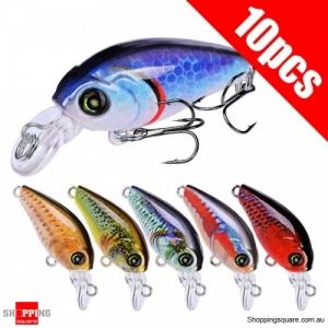 10Pcs 3D eyes Crankbait Fishing Lure Plastic Hard Bait Mini Artificial Lures Mixed Color #1