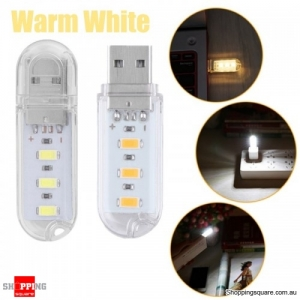 Portable 0.8W Mini SMD5730 LED USB Powered Rigid Camping Night Light - Warm White