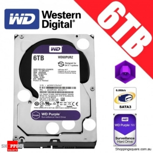 Western Digital Purple 6TB 3.5-inch SATA 6GB/s Surveillance Hard Drive Disk