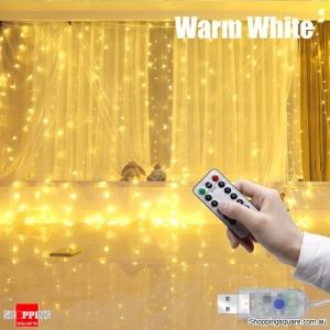 3Mx3M 300LED USB Powered 8-Mode Remote Control Curtain Fairy String Holiday Light - Warm White